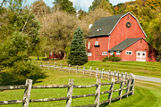 Split Rail Fence Prints - Connecticut Red Barn Print by Robert Ford