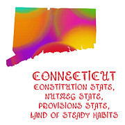 Connecticut Digital Art Prints - Connecticut State Map Collection 2 Print by Andee Photography