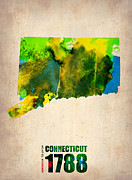 Connecticut Posters - Connecticut Watercolor Map Poster by Irina  March