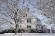 Clapboard House Prints - Connecticut Winter Print by Michelle Welles