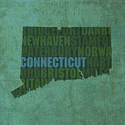 Connecticut Posters - Connecticut Word Art State Map on Canvas Poster by Design Turnpike