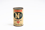 Piggy Bank Framed Prints - Conoco Motor Oil Piggy Bank - Antique - Tin Framed Print by Andee Photography
