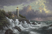 Lighthouse Sunset Posters - Conquering the Storms Poster by Thomas Kinkade