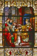 Window Panes Posters - Consecration of St Augustine Stained Glass Window Poster by Christine Till