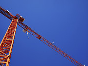 Strength Metal Prints - Construction crane on blue sky Metal Print by Ofer Zilberstein