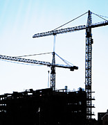 Frame House Metal Prints - Construction Cranes Metal Print by Antony McAulay