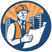 Architect Prints - Construction Engineer Architect Foreman Retro Print by Aloysius Patrimonio