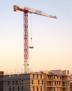 Tower Crane Framed Prints - Construction Site at Sunset Framed Print by Wim Lanclus