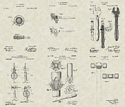 Technical Art Drawings Prints - Construction Tools Patent Collection Print by PatentsAsArt