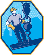 Industrial Digital Art Prints - Construction Worker I-Beam Girder Ball Hook Print by Aloysius Patrimonio