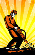 Construction Worker Jackhammer Retro Poster Print by Aloysius Patrimonio