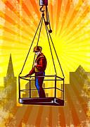 Construction Worker Platform Retro Poster Print by Aloysius Patrimonio