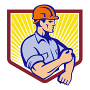 Construction Prints - Construction Worker Rolling Up Sleeve Retro Print by Aloysius Patrimonio
