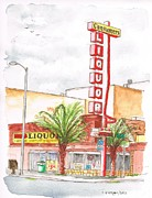 Red Wine Prints Painting Framed Prints - Consumers Liquor in Sunset Blvd - Hollywood - CA Framed Print by Carlos G Groppa