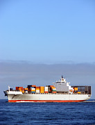 Commerce Photo Posters - Container Ship at Sea Poster by Olivier Le Queinec