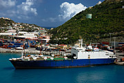 Dock Metal Prints - Container Ship St Maarten Metal Print by Amy Cicconi