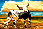 Bulls Art - Contemplated Journey by Cheryl Poland