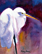 Egret Paintings - Contemplating Bird by Mickey Krause