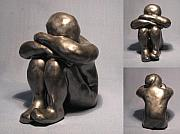 Small Statue Ceramics - Contemplating by Bob Dann