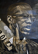 Malcolm X Prints - Contemplating X Print by Michael Mahue Moore