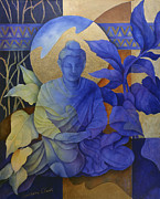 Seated Painting Posters - Contemplation - Buddha Meditates Poster by Susanne Clark