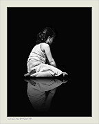 Contemplating Framed Prints - Contemplation In Dark Framed Print by Pedro L Gili