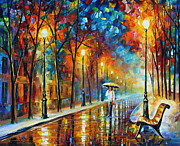 City Park Painting Originals - Contemplation new version by Leonid Afremov