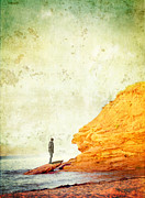 Cliff Posters - Contemplation Point Poster by Edward Fielding