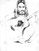 Acoustic Guitar Drawings - Contemplative by Wide Awake  Arts
