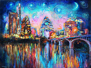 Water Drawings Posters - Contemporary Downtown Austin Art painting Night Skyline Cityscape painting Texas Poster by Svetlana Novikova
