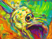 Mahi Mahi Painting Posters - Contemporary Mahi Study Poster by Mike Savlen