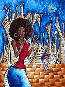 Singer Paintings - Contemporary New Orleans Jazz Blues Original Painting SINGIN IN THE STREETS by Megan Duncanson