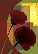 Flower Still Life Prints Framed Prints - contemporary Poppies with geometric color squares Framed Print by Gina Femrite