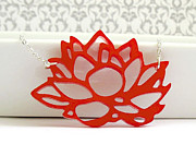 Nature Inspired Jewelry - Contemporary Red Lotus Flower Pendant Necklace by Rony Bank