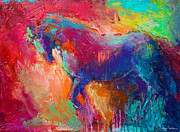Wild Horse Drawings - Contemporary vibrant horse painting by Svetlana Novikova