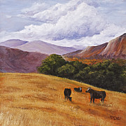 Oak Trees Paintings - Contented Cows by Darice Machel McGuire
