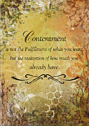 Christian Mixed Media Posters - Contentment inspirational Christian Art Print Poster by Janelle Nichol