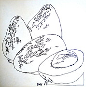 Salad Drawings Prints - Contour Line Avocados Print by Debi Pople