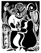 Lino Cut Drawings Prints - Contrabass Print by Vadim Vaskovsky