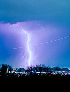 Storm Prints Prints - Contrail Going Through a Lightning Bolt Print by James Bo Insogna