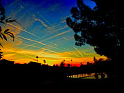 Yuma Posters - Contrail Sunset In Yuma Poster by Al Bourassa
