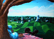 Alice In Wonderland Paintings - Contrary to popular belief a peaceful coexistance IS possible by Michelle Moen
