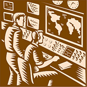 World Map Digital Art Metal Prints - Control Room Command Center Headquarter Woodcut Metal Print by Aloysius Patrimonio