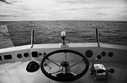 Bridge Deck Framed Prints - Controls On The Flybridge Deck Of A Charter Fishing Boat In The Gulf Of Mexico Out Framed Print by Joe Fox