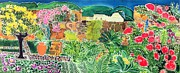 Rich Colorful Flower Prints - Convent Gardens Antigua Print by Hilary Simon