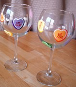 Painted Glass Art - Conversation Hearts Wine Glasses by Sarah Grangier