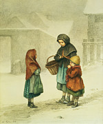 Wintry Painting Prints - Conversation in the Snow Print by Pierre Edouard Frere