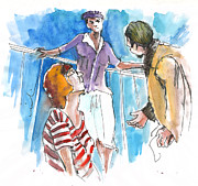 Men Talking Drawings - Conversation on Deck 01 by Miki De Goodaboom