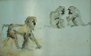 Zoo Animals Paintings - Conversation by Vija Francis-Celmins