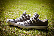 Jogging Metal Prints - Converse pumps Metal Print by Jane Rix